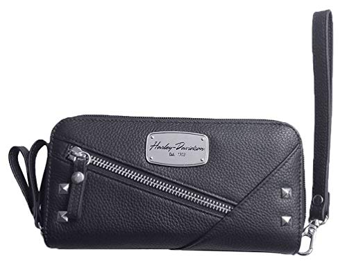 Harley-Davidson Women's Chain Gang Leather Wristlet w/Strap – Black CG2390L-BLK