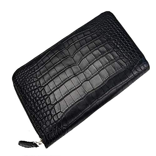 Men's Wallet Credit Card Holder No Stitching Crocodile Leather Wallet Male Fashion Long Clutch Bag Leather Zipper Bag Money Purse Gift for Gents