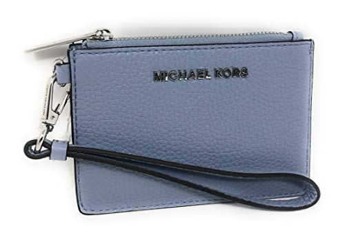 Michael Kors Jet Set Travel Coin Purse Wristlet Card Case Pebbled Leather Wallet Pale Blue