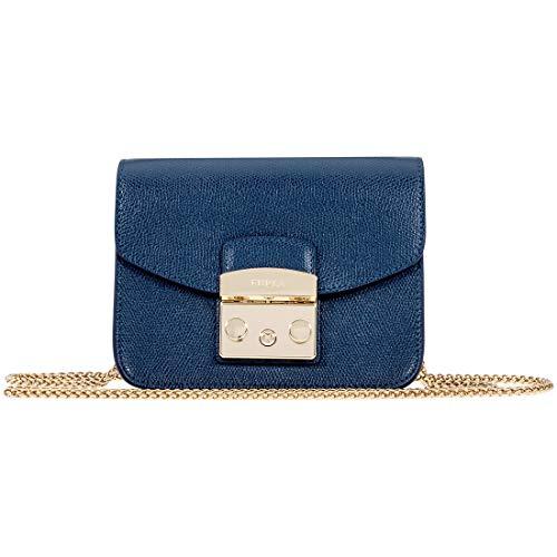 Furla Metropolis Ladies Small Blue Leather Crossbody Bag 1007251