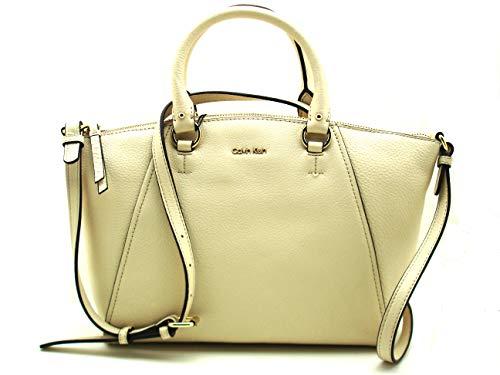 Calvin Klein Avery Pebbled Leather Satchel/Shoulder Light Sand/Gold