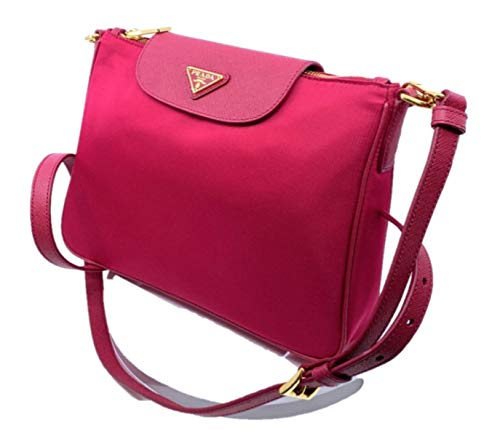 Prada Women's Tessuto Saffiano Pink Ibisco Nylon Crossbody Bag Handbag 1BH933