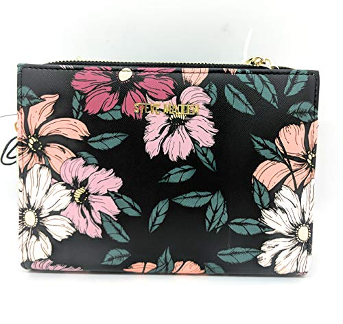 Steve Madden BGREER Women's Crossbody Wallet on a String- Black with Peonies and Gold Hardware