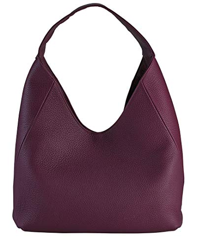 GiGi New York Handcrafted Womens Wine Pebbled Grain Leather Sasha Hobo Shoulder Bag