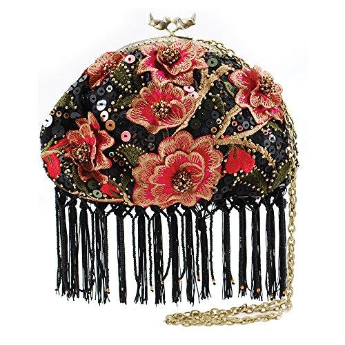 MARY FRANCES Blooming Pink Embellished Mini Floral Cross-body Fringe Handbag