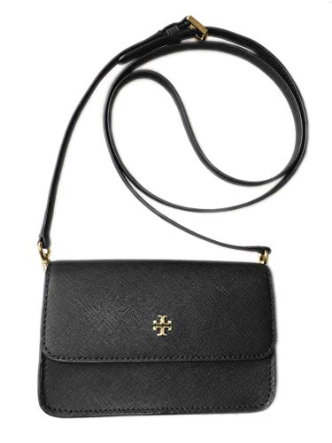 Tory Burch Womens Crossgrain Leather Emerson Mini Convertible Crossbody Bag Purse Black Gone Tone