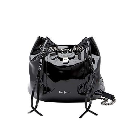 Eric Javits Luxury Fashion Designer Women's Handbag – Mini Leigh – Black Patent