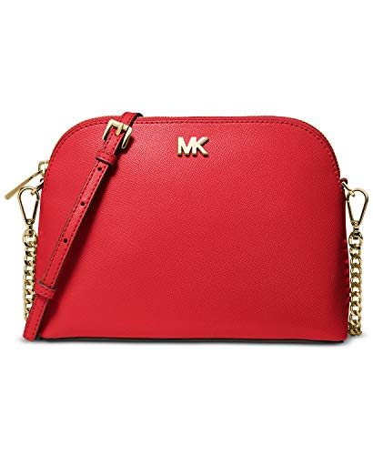 Michael Kors Crossgrain Leather Dome Crossbody (Bright Red)