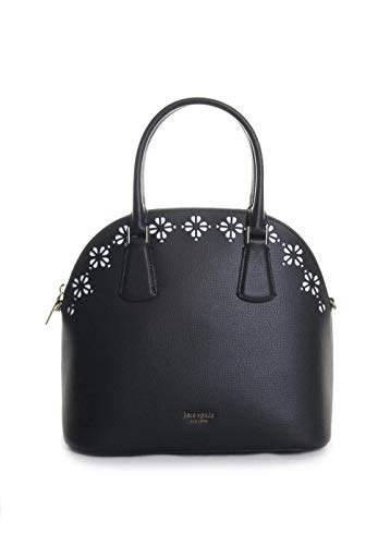 Kate Spade New York Sylvia Perforated Leather Large Dome Satchel Handbag in Black