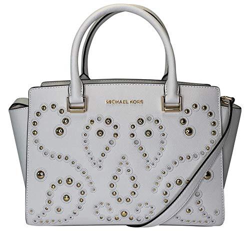Michael Kors Studded Selma Medium Top Zip Leather Satchel Shoulder Bag in Optic White