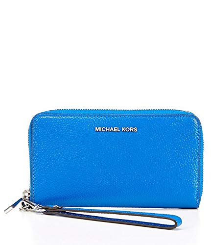 MICHAEL Michael Kors Women's Large Flat Phone Wristlet (Grecian Blue), Medium