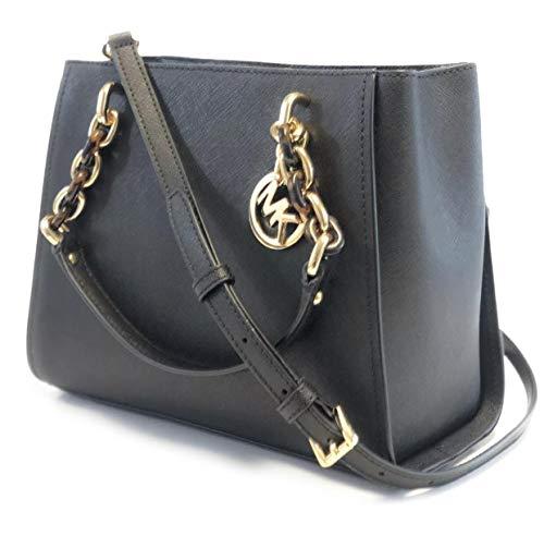 Michael Kors Sofia Medium Saffiano Leather Satchel Crossbody Bag Purse Tote Handbag 35F8G05T2L Black