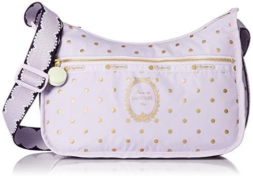 LeSportsac Les Secrets Laduree Pois Cassis Violette Classic Hobo Crossbody Handbag + Cosmetic Bag, Macaron Zipper Pull, Style 7520/Color G611 (Metallic Iridescent Gold Speckles)