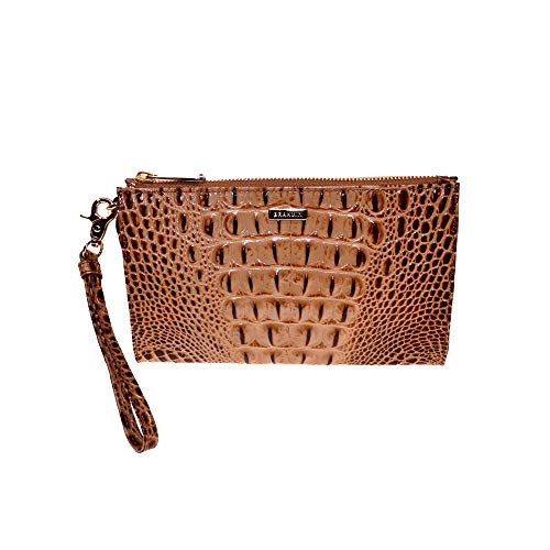 Brahmin Daisy Croco emb leather wristlet clutch Toasted Melbourne