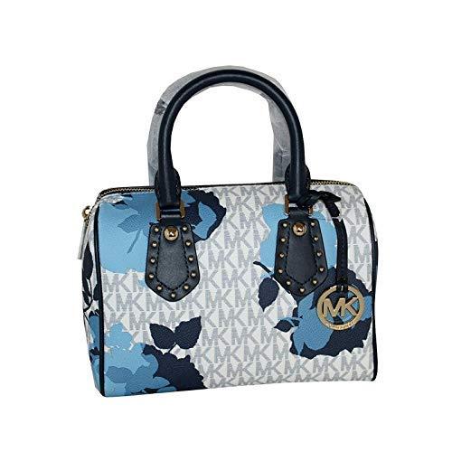 MICHAEL Michael Kors Women's ARIA Small Leather Satchel Studded Handbag (Navy)