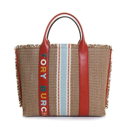 Tory Burch Perry Straw Triple Compartment Tote Handbag