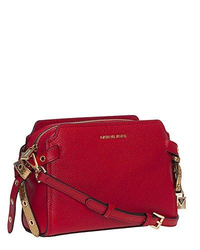 MICHAEL Michael Kors Womens Bristol Leather Messenger Handbag Red Medium