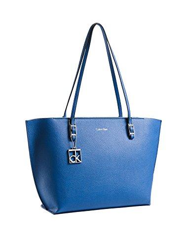 Calvin Klein Womens Blue Hailey Shopper Tote Shoulder Bag