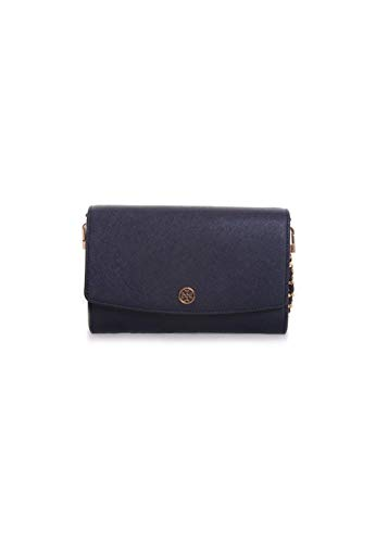Tory Burch Robinson Leather Chain Wallet in Royal Navy