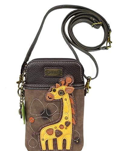 Chala Giraffe Cellphone Crossbody Handbag – Convertible Strap Giraffe Lovers, 5″ x 7.5″ x 1″