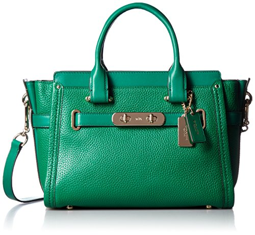 COACH Womens Pebbled Leather Coach Swagger 27 LI/Forest Satchel