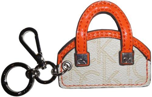 Calvin Klein Handbag Key Chain Fob Off White/Champagne