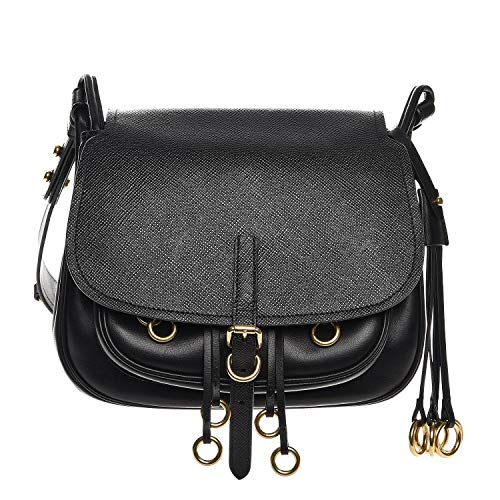 Prada Corsaire Saffiano Cuir Black Leather Crossbody Handbag 1BD050