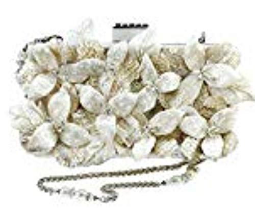 Mary Frances Heavenly Embellished 3D Floral Bridal Handbag, Off-White