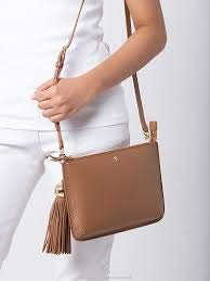 Tory Burch (50671) Pebbled Leather Tassel Crossbody Hand Bag Cardamom