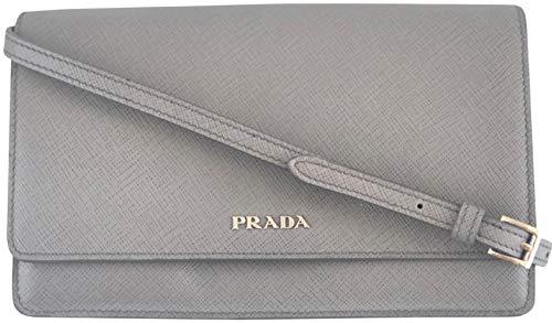 Prada Womens Marmo Grey Bandoliera Saffiano Lux Leather Crossbody 1BH009