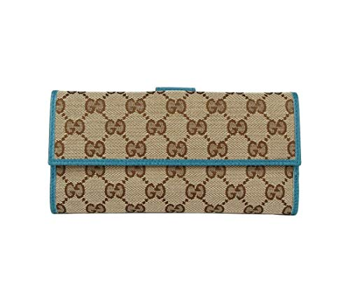 Gucci Women's Beige Original GG Canvas Long Wallet With Cobalt Leather Trim 231841 8616