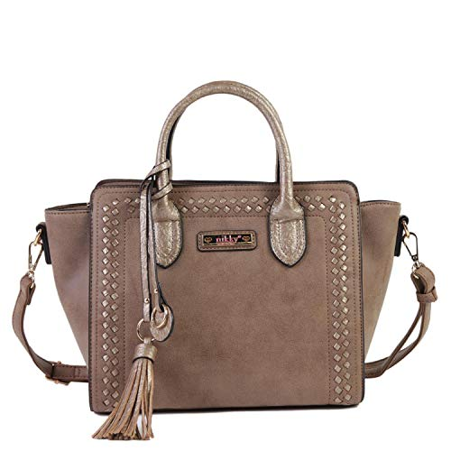 Nicole Lee Women's Top Handle Brown Satchel Bag, Spacious Compartment, Decorative Tassel Travel Shoulder, One Size