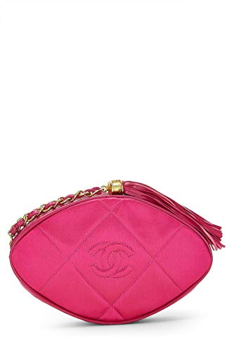 CHANEL Pink Quilted Satin Tassel Clutch (Pre-Owned)