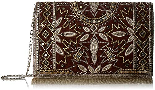 Mary Frances Roaring 20s Silver Embellished Velvet Crossbody Clutch Handbag, Multi