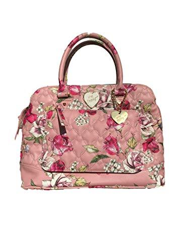 Betsey Johnson Blush Floral Print Faux Leather Triple Entry Zipper Heart Charm Detail Satchel Crossbody Handbag