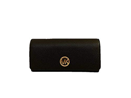 Michael Kors Fulton Flap Continental Carryall Clutch Wallet Purse in Black