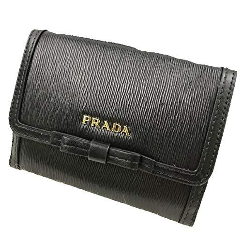 Prada Vitello Move Leather Bluette Black Coin Purse Bi-fold Bow Wallet 1MH523