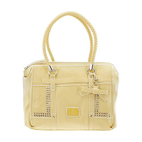 Guess Road Trip Ladies Large Lemon Leather Satchel Bag VG452810-LEM
