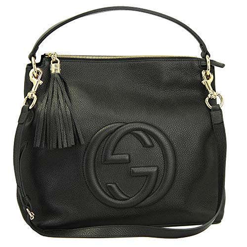 Gucci Soho Black Leather Hand Bag With Shoulder Strap 536194
