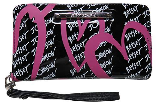 Betsey Johnson Women's Wristlet Wallet, Black/Multi, 8 X 4.5 in