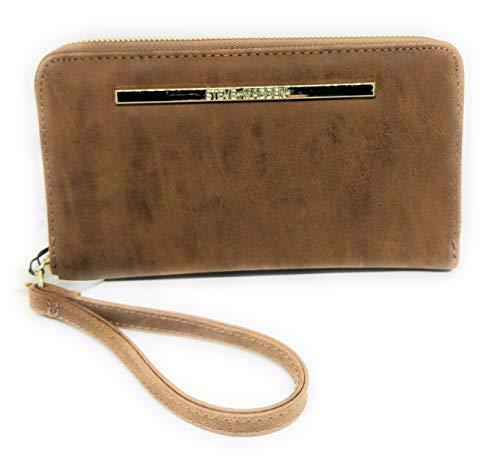 Steve Madden Nubuck Women's Suede Zip Around Wallet/Wristlet (Cognac with Gold Hardware)