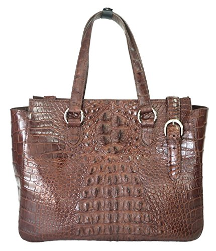 Authentic River Crocodile Skin Womens Satchel Tote Bag Dark Brown Handbag