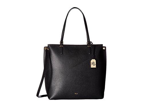 Lauren Ralph Lauren Womens Anfield Abby Pebbled Tote Handbag Black Large