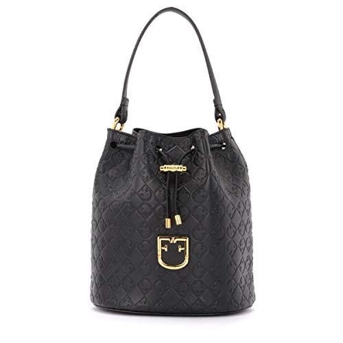 Furla Furla Corona S Bucket Bag In Textured Black Leather Black