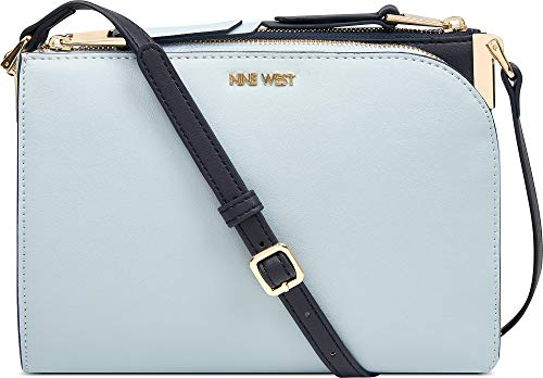 Nine West Two Tone Darcelle Crossbody Handbag One Size Ice blue/navy blue