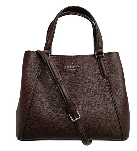Kate Spade New York Jackson Pebble Leather Medium Triple Compartment Satchel Crossbody Chocolate Cherry