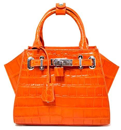Authentic M Crocodile Skin Womens Belly Clutch Bag Purse W/Strap Locked Orange Handbag