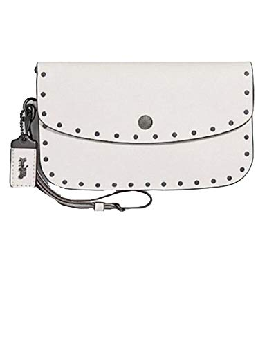 Coach women's Border Chalk Rivets clutch BPCHK Leather (29765)