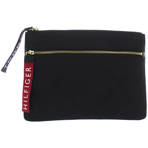 Tommy Hilfiger Womens Quilted Pouch Wristlet Handbag Black Small
