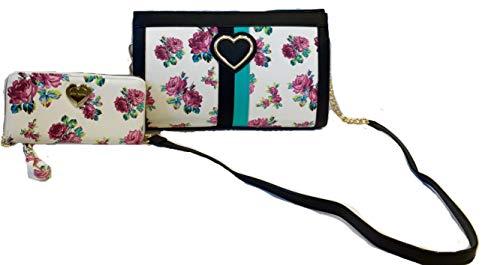 2pc Set Betsey Johnson Roses Satchel Crossbody and Matching Wallet – Medium